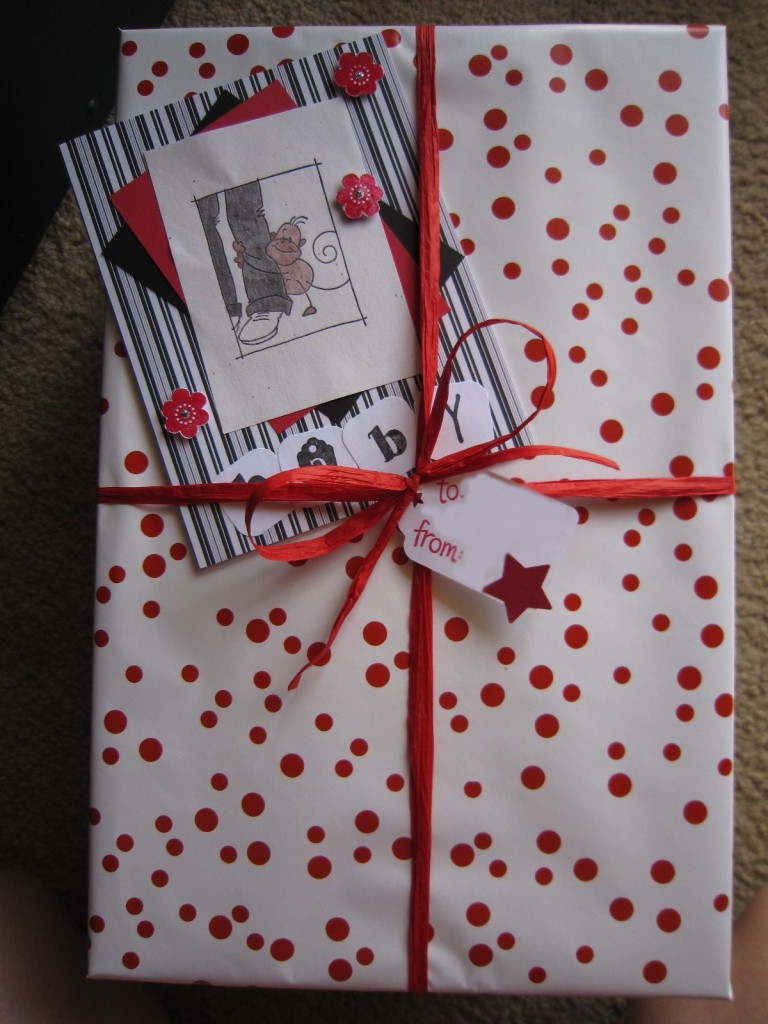 Baby Shower gift and card in red, black, and white