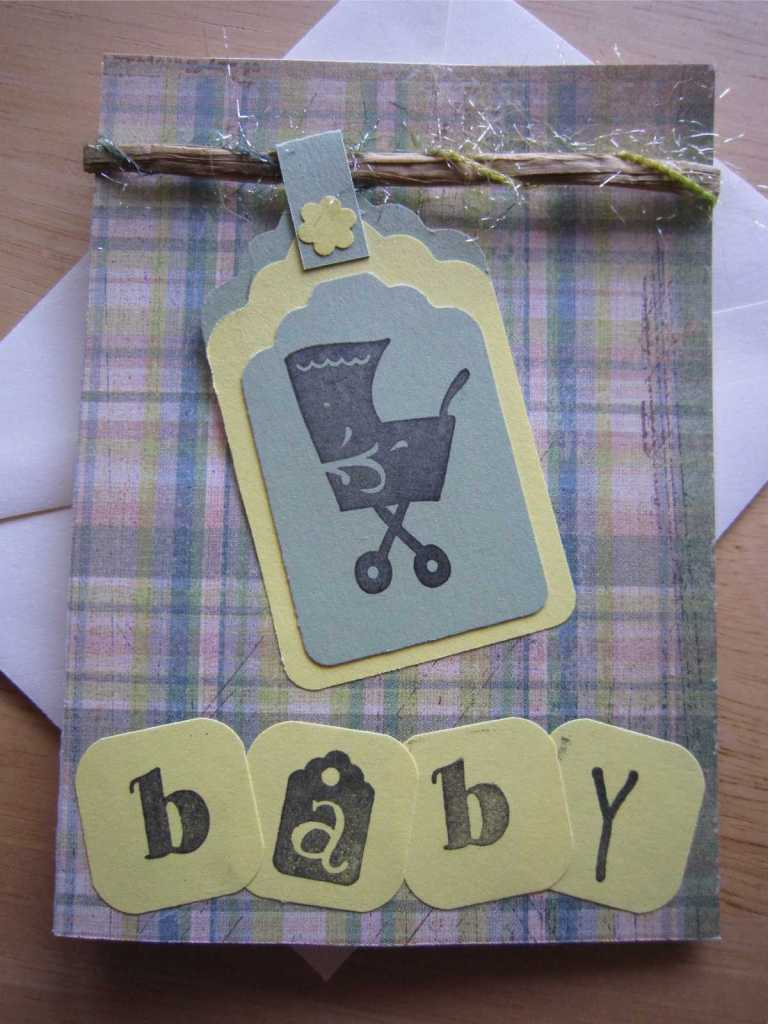 Baby Shower card using rubber stamped buggy image