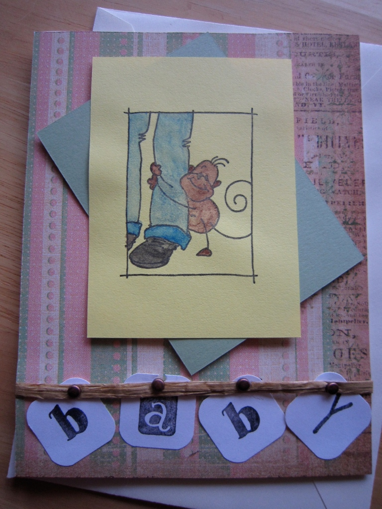 Baby Shower card using pastel colors and Changito Knee-Hugger  rubber stamp