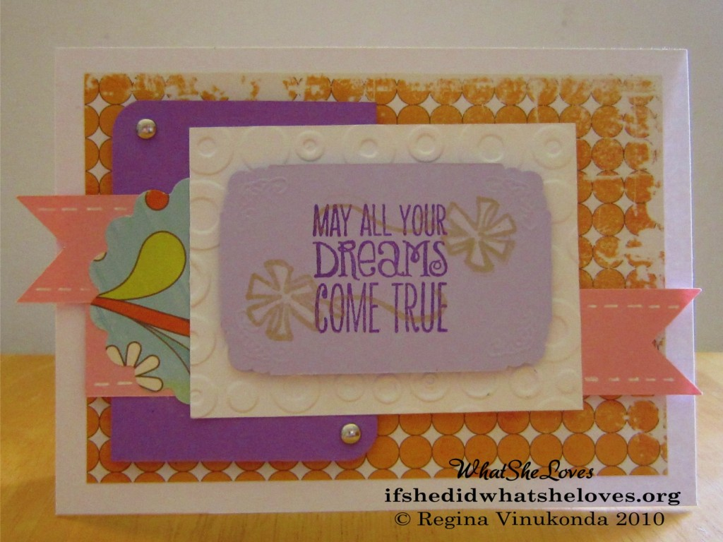 "Homemade card with the message, ""May All your Dreams Come True"""