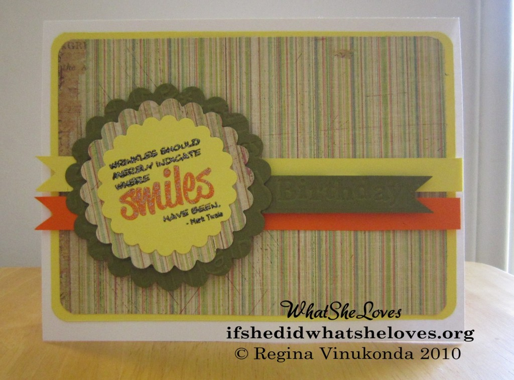 "Handmade card that reads ""Wrinkles should only indicate where smiles have been"""