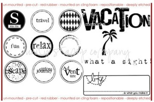 Vacation-themed rubber stamps that I won