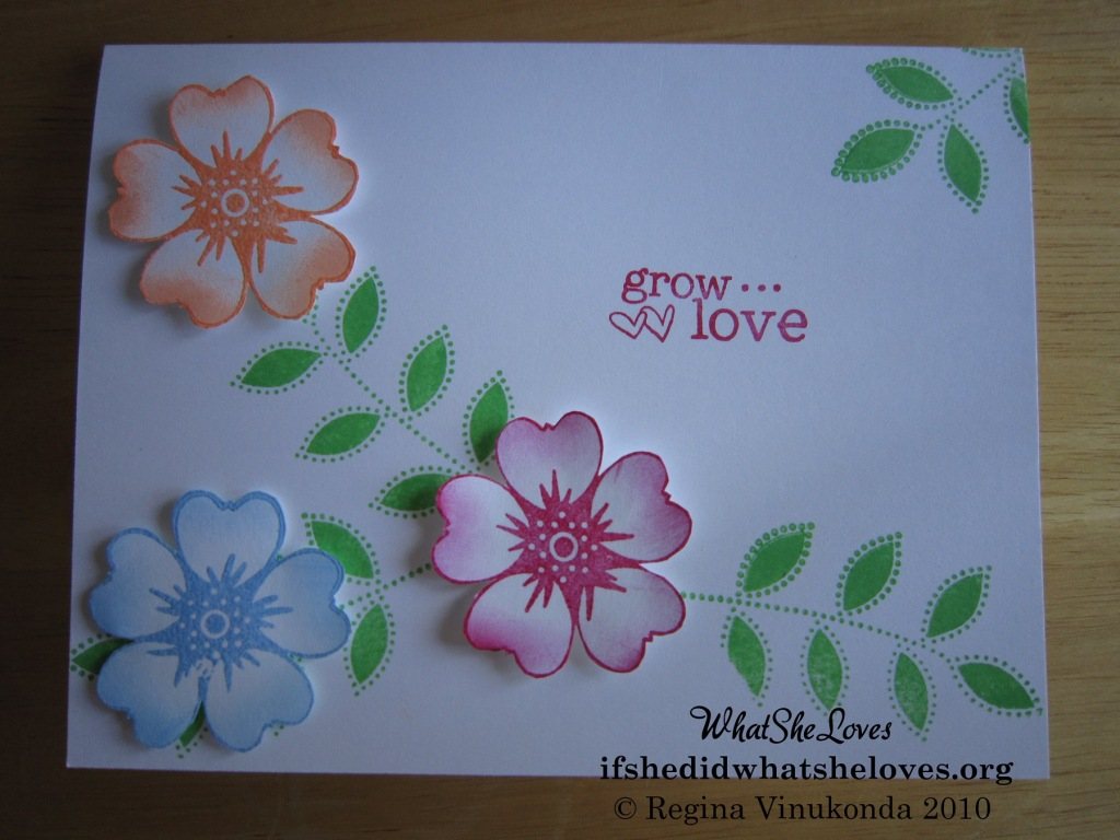 "Card with the message, ""grow love"""