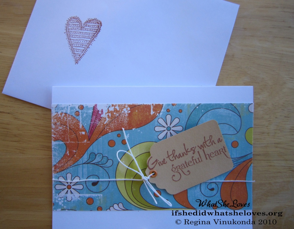 "Thank you card that reads, ""give thanks with a grateful heart"""