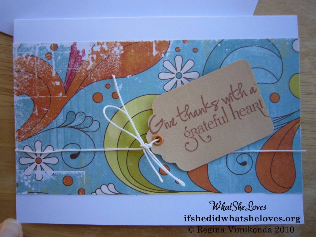 "Close up of ""Give thanks with a grateful heart"" thank you card"