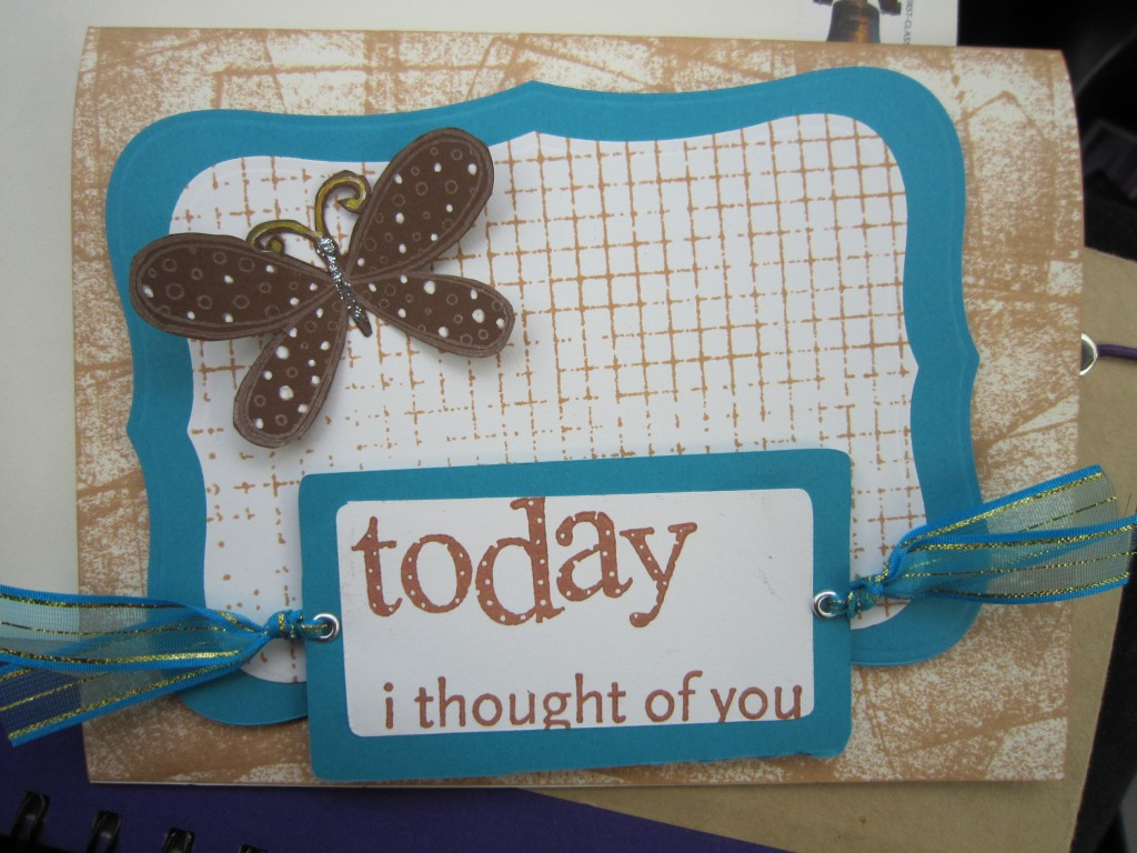 "turquoise and brown card with a raised butterfly and the message, ""today I thought of you"""
